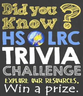 National Book Week: HS LRC Trivia of the day! (Day 4 )
