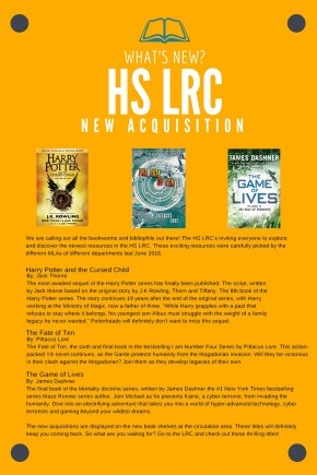 New Acquisitions at the HS-LRC